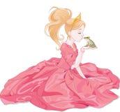 Princess Kissing Frog. Fairytale Princess kissing a frog, hoping for a prince royalty free illustration