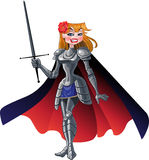 Princess knight in cloak with sword Stock Photo