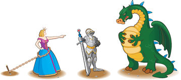 Princess, Knight and Dragoon. On a white background Royalty Free Stock Image