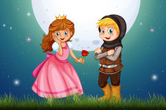 Princess and knight in the field Stock Images