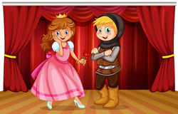 Princess and knight on stage. Illustration royalty free illustration