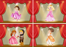 Princess and knight on the stage play Royalty Free Stock Photo