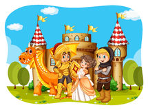 Princess and knights standing in front of the castle Royalty Free Stock Photo