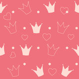 Princess korona tła Bezszwowy Deseniowy wektor ilustracja wektor