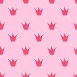 Princess korona tła Bezszwowy Deseniowy wektor Obraz Stock