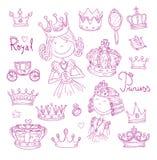 Princess korony set, ręka rysujący wektor Obraz Royalty Free