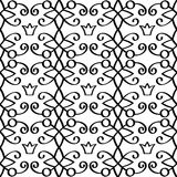 Princess linear black pattern with crowns. Princess linear black pattern with swirls and crowns on white background. Vector illustration Stock Photo