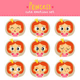 Princess, little girl cute emotions set Stock Photo