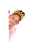Princess. Little girl dressed as a princess isolated in white Royalty Free Stock Photos