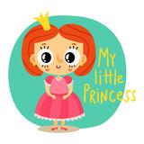 Princess, little girl in pink dress, cartoon character Royalty Free Stock Image
