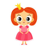 Princess, little girl in pink dress, cartoon character isolated Stock Image