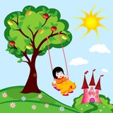 Princess little girl on swing. Little girl on swing in a beautiful sunny summer day vector illustration