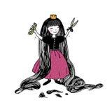 Princess with long hair has cut bangs. Stock Image