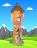 Princess with long hair waiting on the  tower Royalty Free Stock Images