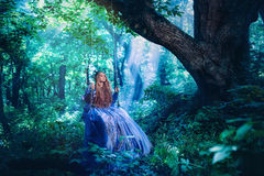 Princess in magic forest. Princess in vintage dress walking in magic forest royalty free stock photo