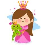 Princess and a magic frog fairytale Stock Photo