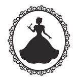 Princess in a magnificent dress in a retro frame. Silhouette of a princess in a magnificent dress in a retro frame royalty free illustration