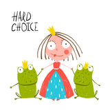Princess Making Choice between Two Prince Frogs Royalty Free Stock Photos
