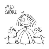 Princess Making Choice between Two Prince Frogs Royalty Free Stock Photo
