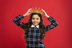 Princess manners. Elegancy suit her. Kid wear golden crown symbol of princess. Every girl dreaming to become princess. Lady little princess. Girl wear crown stock photo
