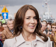 Princess Mary of Denmark visit Poland. SZCZECIN, POLAND - MAY 14, 2014: Denmark Princess Mary, during press conference in harbour.On 14 May 2014 Szczecin will Stock Images
