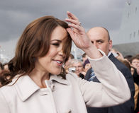 Princess Mary of Denmark visit Poland. SZCZECIN, POLAND - MAY 14, 2014: Denmark Princess Mary, during press conference in harbour.On 14 May 2014 Szczecin will Royalty Free Stock Photos