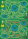 Princess maze. Princess in a search for frog prince - maze for kids with a solution Royalty Free Stock Images