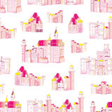 Princess medieval castles vector seamless pattern Royalty Free Stock Image