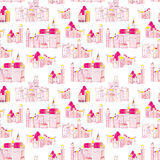 Princess medieval castles vector seamless print Stock Photo