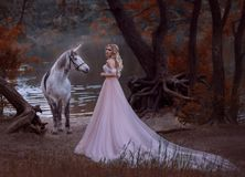 The princess met a unicorn in the forest. The blonde girl with a gentle make-up, is dressed in a long vintage dress with