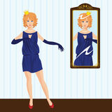 Princess by the Mirror. Red-Haired Princess by the Mirror Royalty Free Illustration