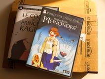Princess Mononoke and Tale of the Princess Kaguya. PARIS, FRANCE - DEC 28, 2016: Princess Mononoke and Tale of the Princess Kaguya DVD boxes and Amazon Prime stock images