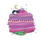 Princess na grochu Koc i poduszki ilustracja wektor