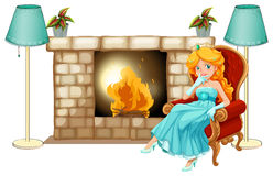 A princess near the fireplace Stock Photos