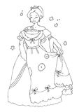 Princess with new dress Coloring Page. Line illustration suitable as coloring sheet for children. Check out my portfolio for more coloring pages with the same Stock Photos