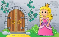 Princess by old door theme image 1. Eps10 vector illustration royalty free illustration