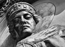 Princess Olga - first known female ruler of country. Easter. Monochrome. KIEV - UKRAINE - MARCH 2017: Part of the sculpture of Princess Olga at the door of the Stock Image