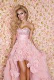 Princess, panna m?oda w r??owej ?lubnej sukni Pi?kna m?oda kobieta - wizerunek fotografia royalty free