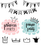 Princess Party Bridal shower card design. Birthday Girl lettering quote typography. Vector design for postcard, poster, graphics. Princess or Prince Party baby Stock Image
