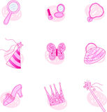 Princess Party Icons Royalty Free Stock Photo