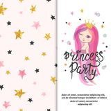Princess party invitation template for little girls stock illustration