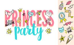 Princess Party lettering with girly doodles and hand drawn phrases for valentines day card design, girl`s t-shirt print. Hand drawn Princess Party slogan royalty free illustration