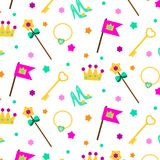 Princess party pattern. Vector background with girl elements crown, shoes, wand. For party invitations, gift wrapping, scrapbook p Royalty Free Stock Image