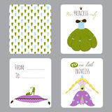 Princess Party set of cards Royalty Free Stock Images