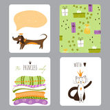 Princess Party set of cards Stock Photo