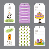 Princess Party set of tags Stock Images