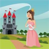 Princess path castle landscape vector illustration