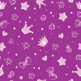 Princess pattern. background for girls. crown. And stars Royalty Free Stock Photography