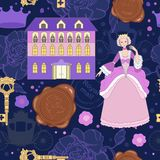 Princess on pattern for wallpaper. Fairy tale on seamless royalty free illustration