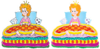 The Princess and the Pea. The Princess sits on her bed covered with mattresses and pillows royalty free illustration